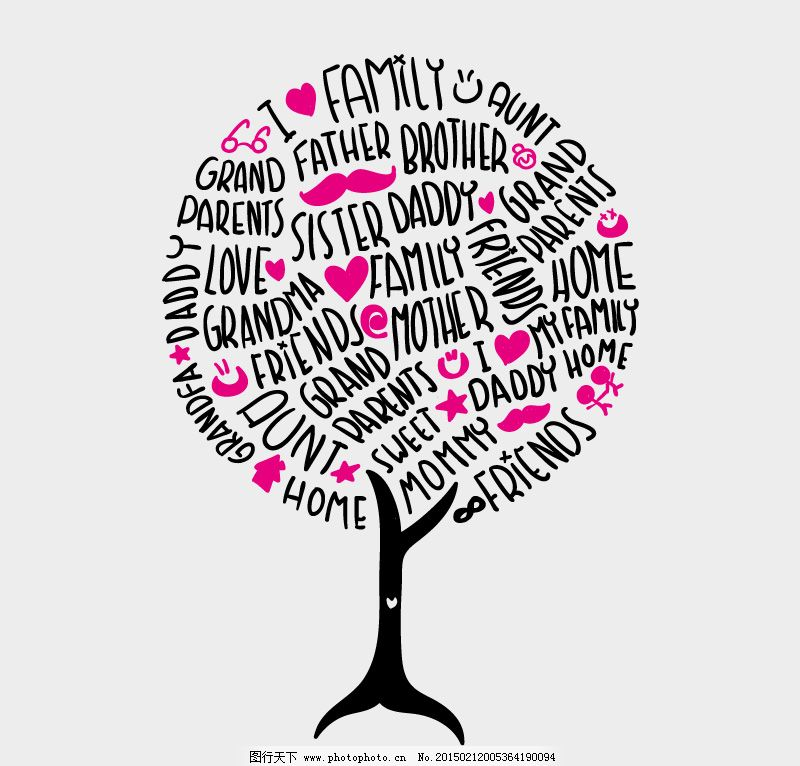 创意艺术字家族树背景矢量素材