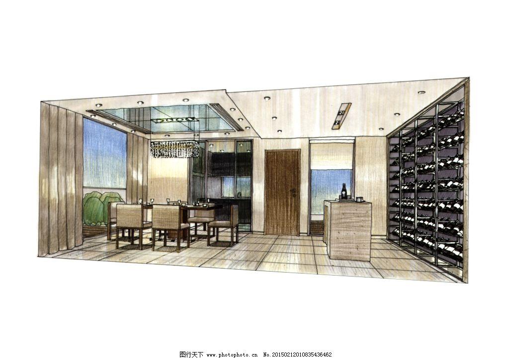餐厅设计手绘图片素材