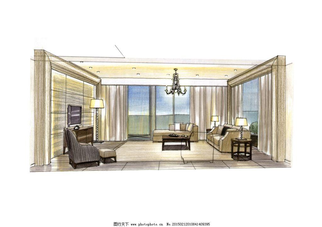 客厅展示手绘图片素材 客厅展示手绘图片素材免费下载 室内建筑 手绘