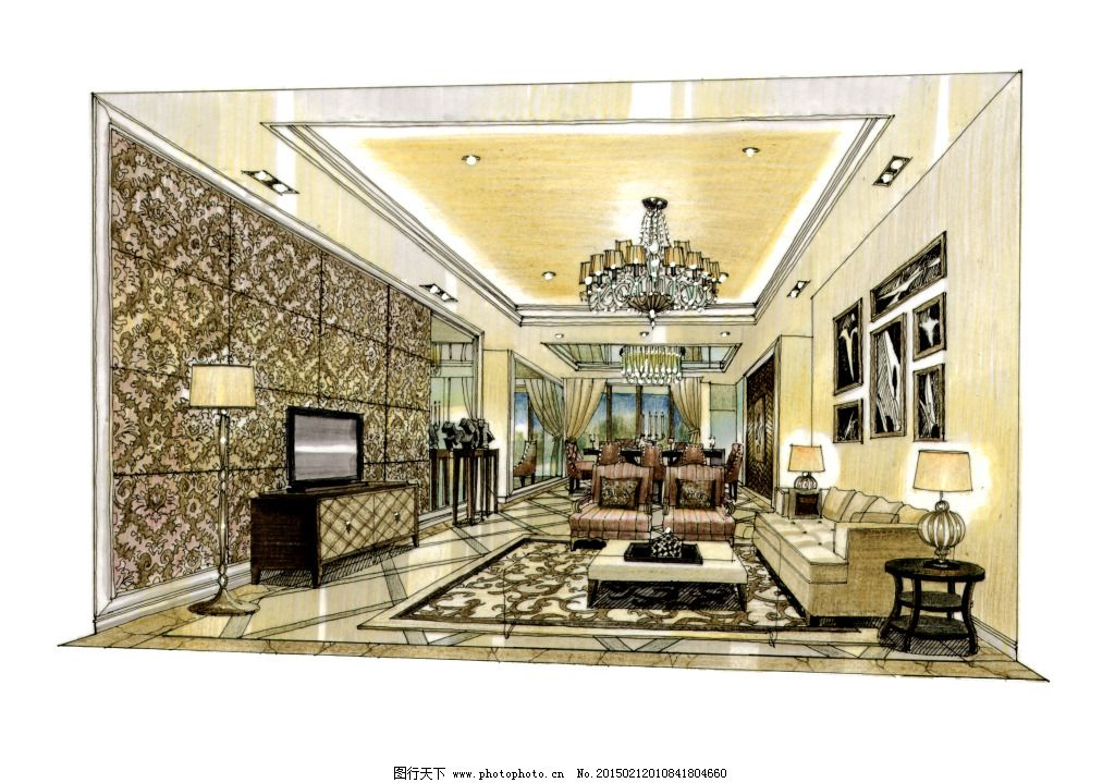 欧式客厅一点透视手绘图