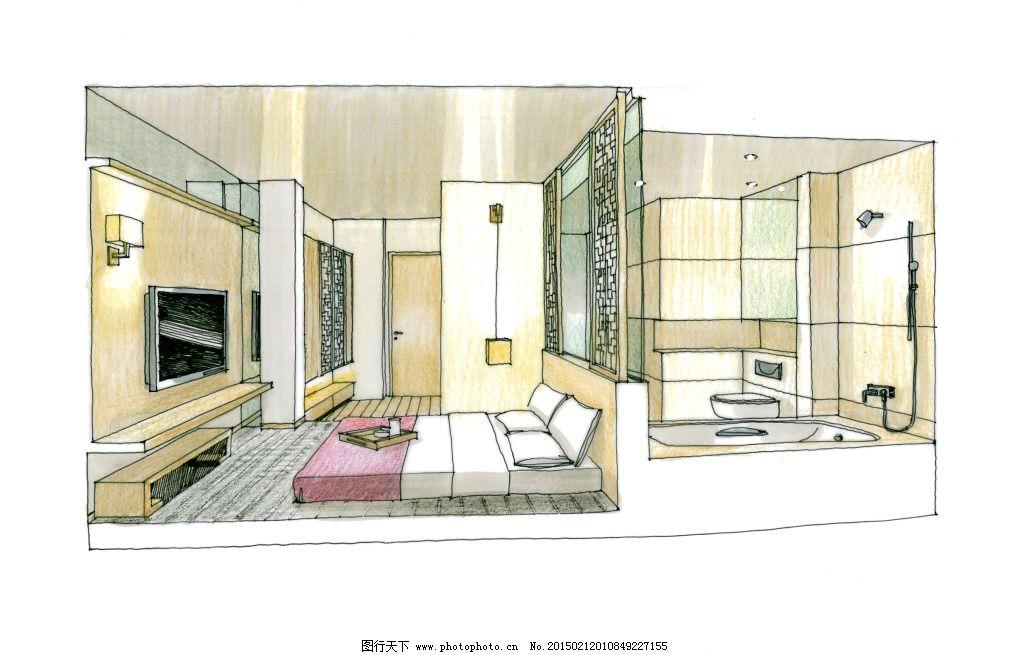 室内素材 手绘 手绘建筑 室内建筑 素描 3d建筑 建筑效果图 建模 透视
