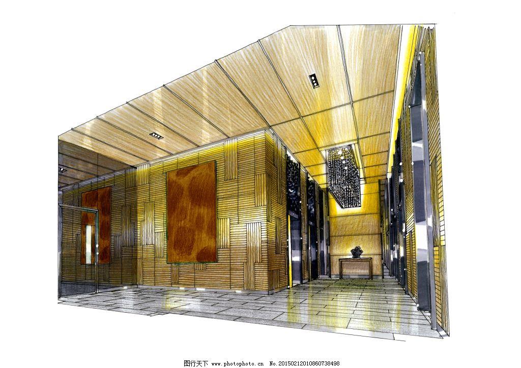 入户大堂电梯间手绘图片素材