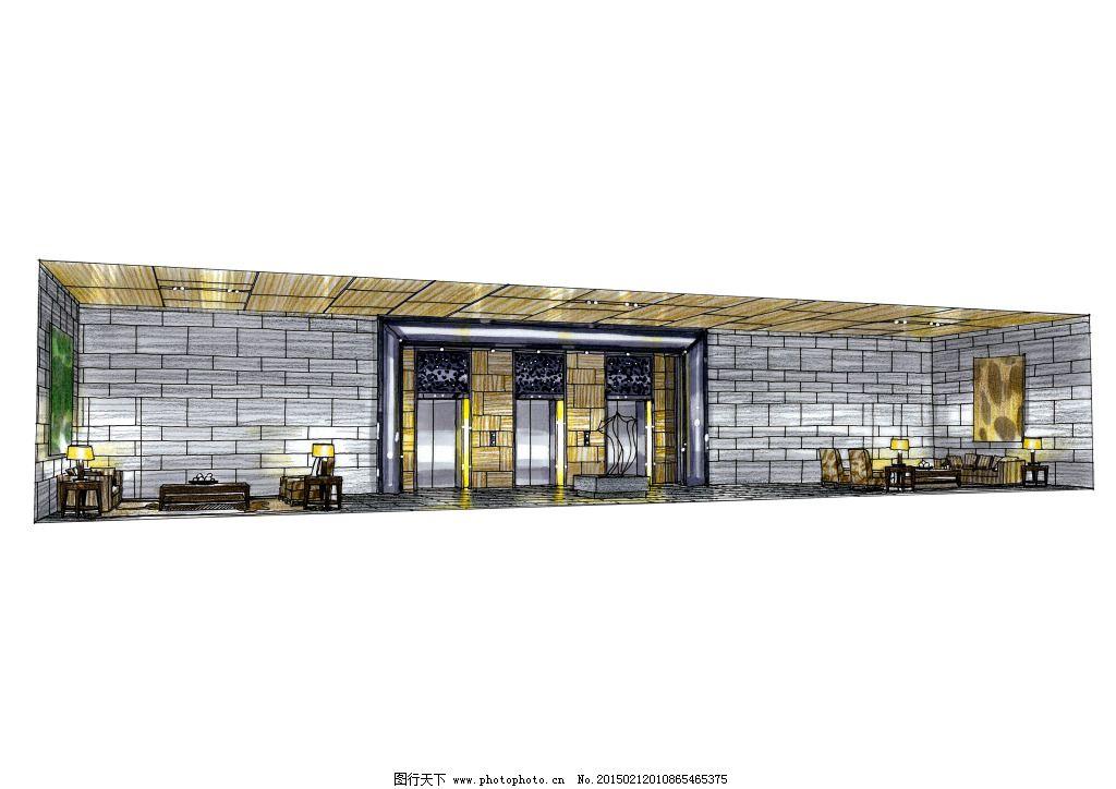 入户大堂空间手绘图片素材免费下载 建筑家居 效果图模板下载 城市