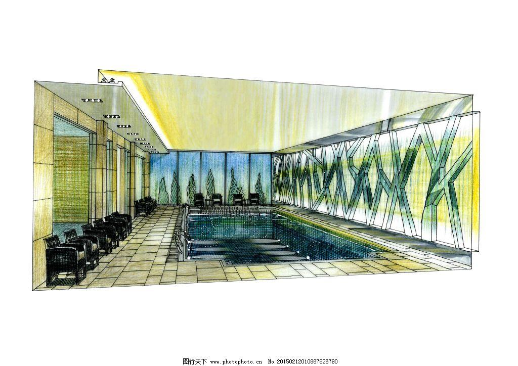 游泳池手绘图片素材