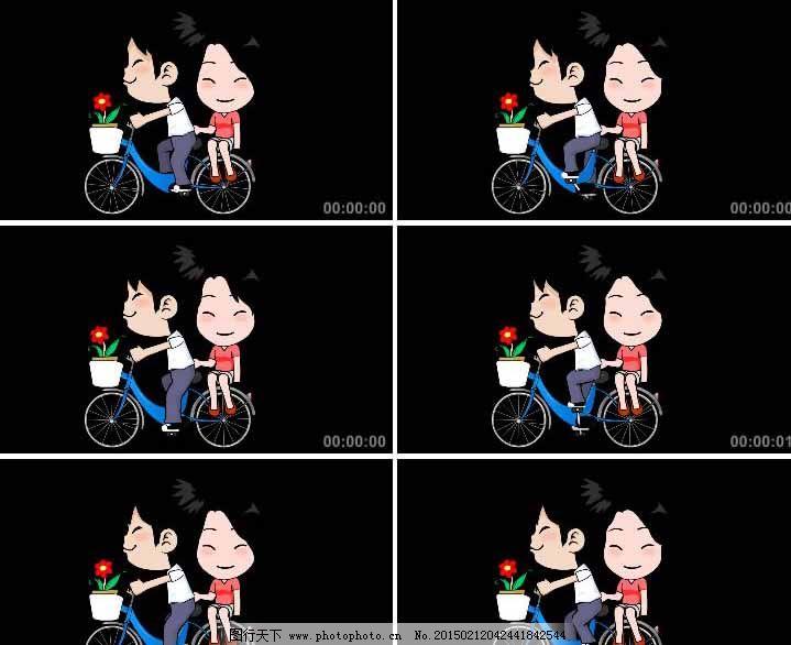 一对情侣骑自行车动画