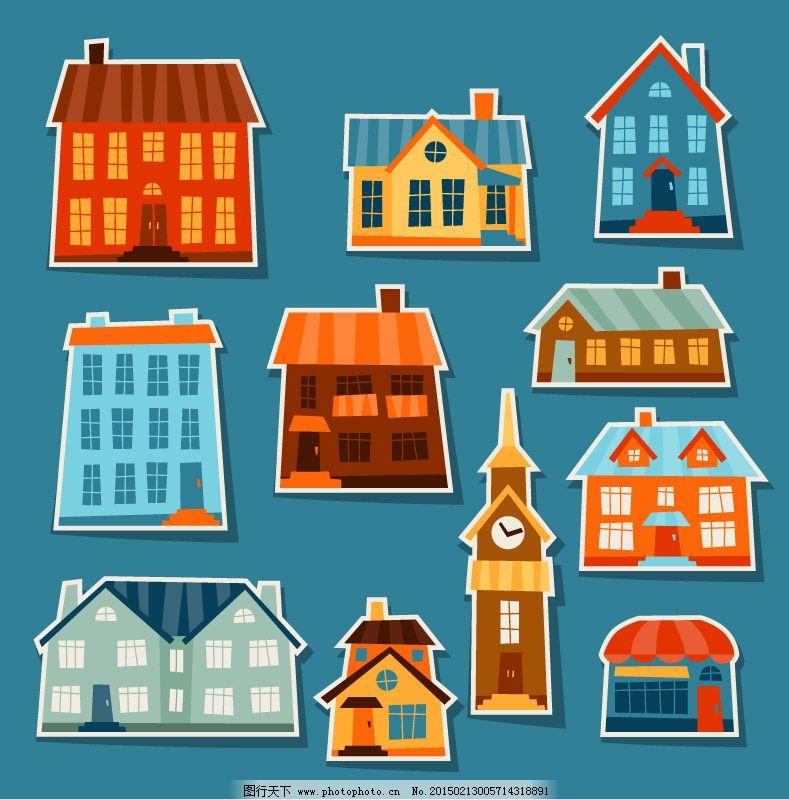 11款卡通紙房子設計矢量素材