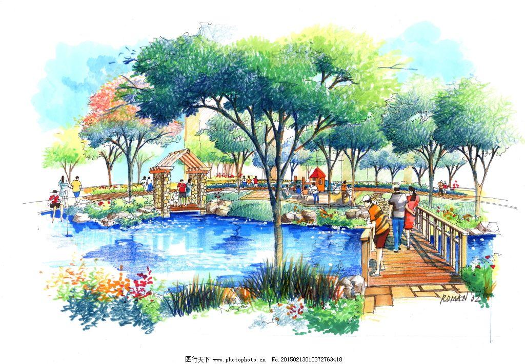 园林建筑效果图 建筑景观效果图绘画建模建筑效果图园林透视图 模型