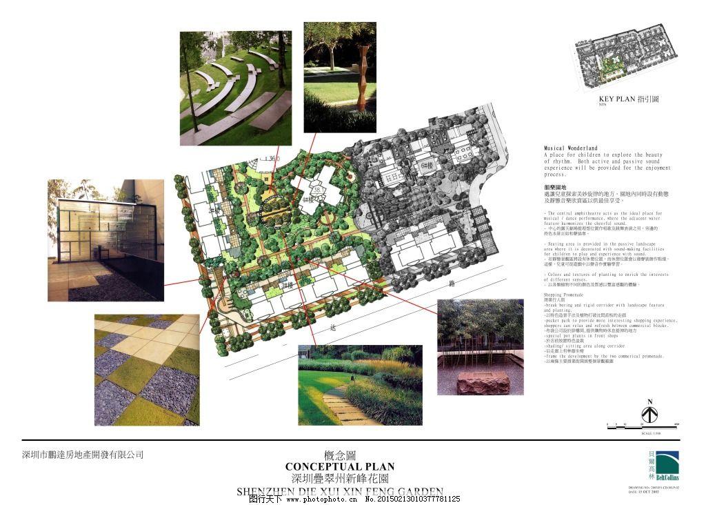 新峰花园景观手绘图片素材