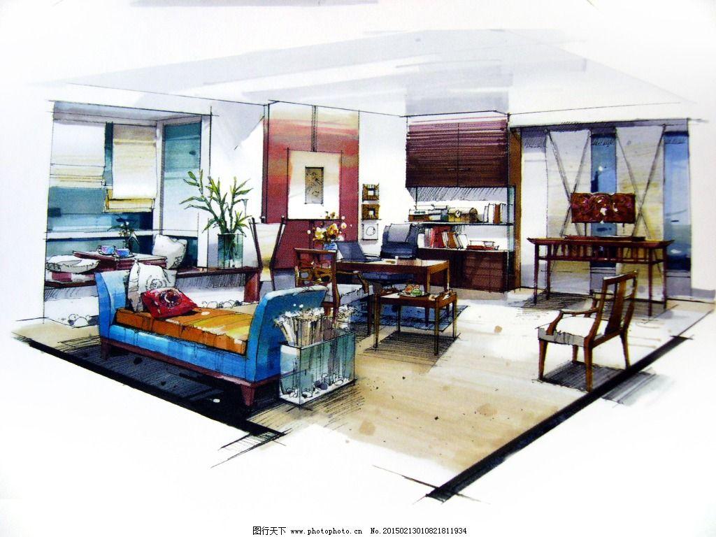 客厅场景设计手绘图片素材免费下载 3d建筑 建筑效果图 模型 室内设计