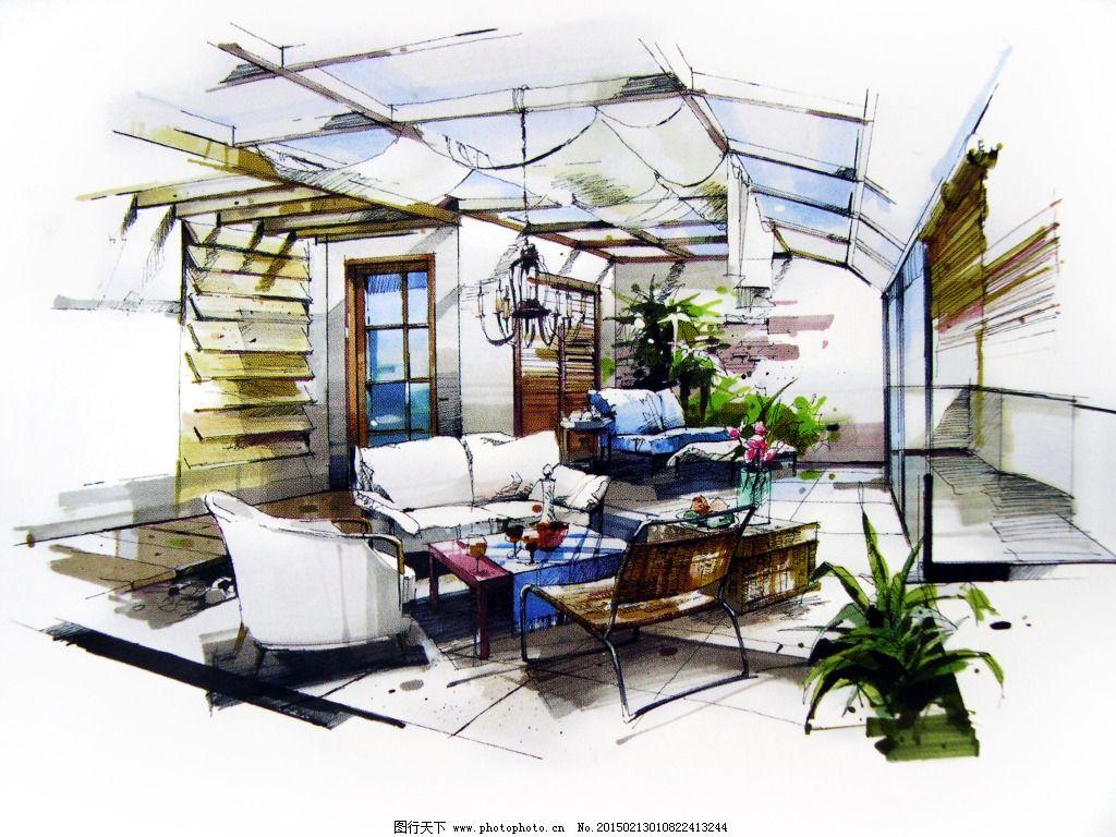 客厅场景布局设计手绘图片素材