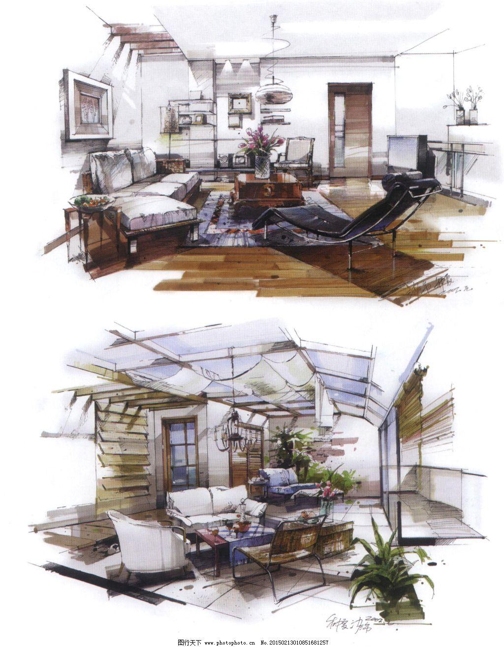 客厅布局手绘图片素材
