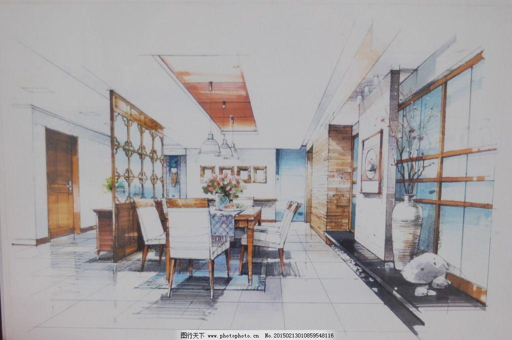 客厅家居线描手绘图片素材