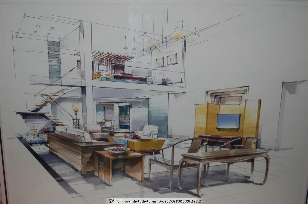 客厅线稿设计素材手绘图片素材