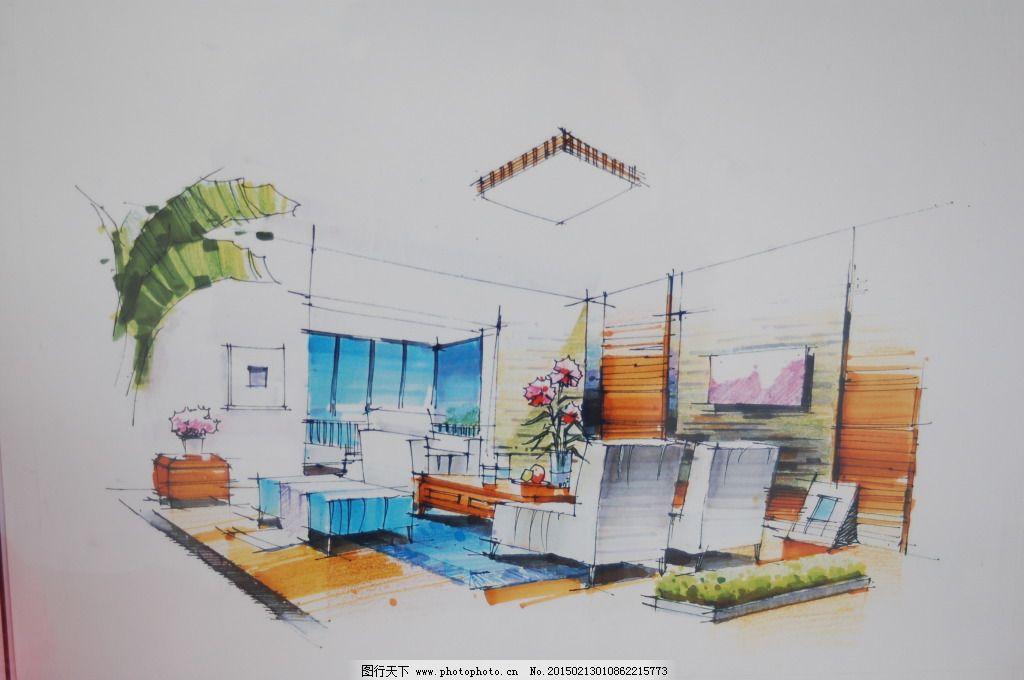 客厅线描设计手绘图片素材