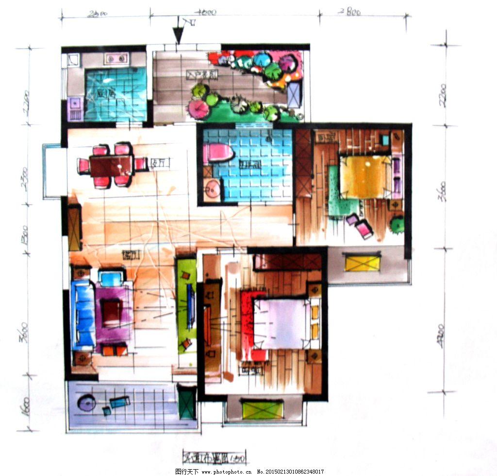 平面室内空间手绘图片素材