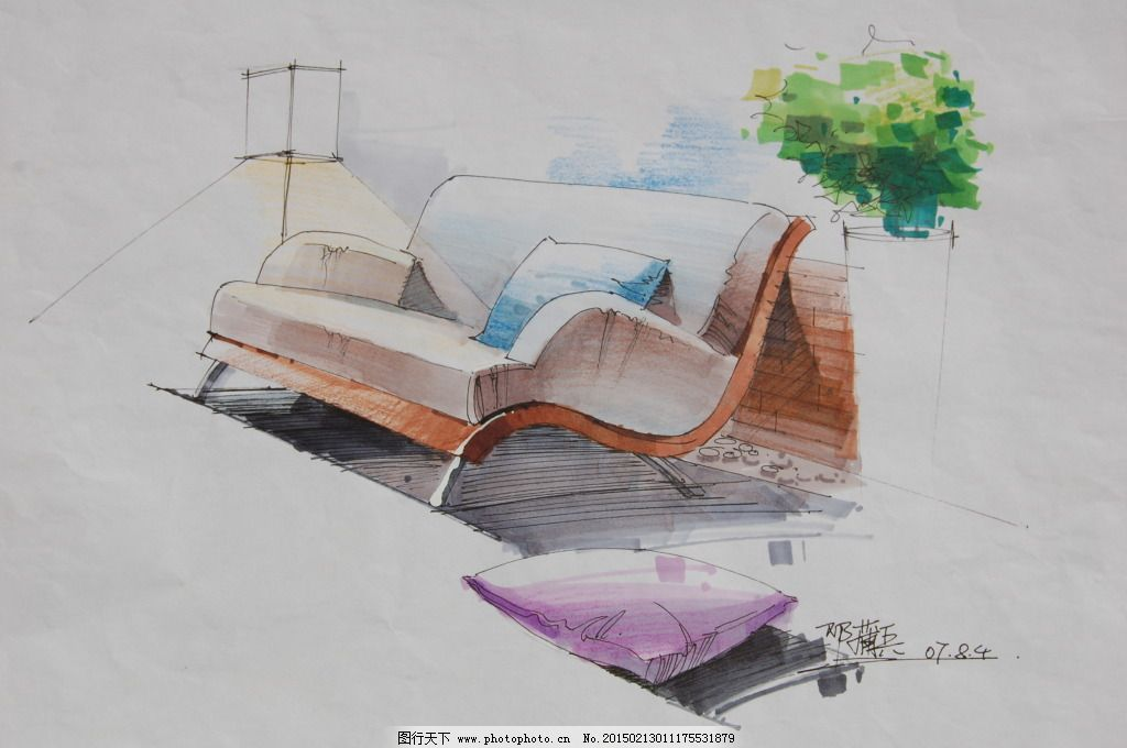 小品图色稿手绘图片素材免费下载 绘画书法 建筑家居 模型 欧式室内