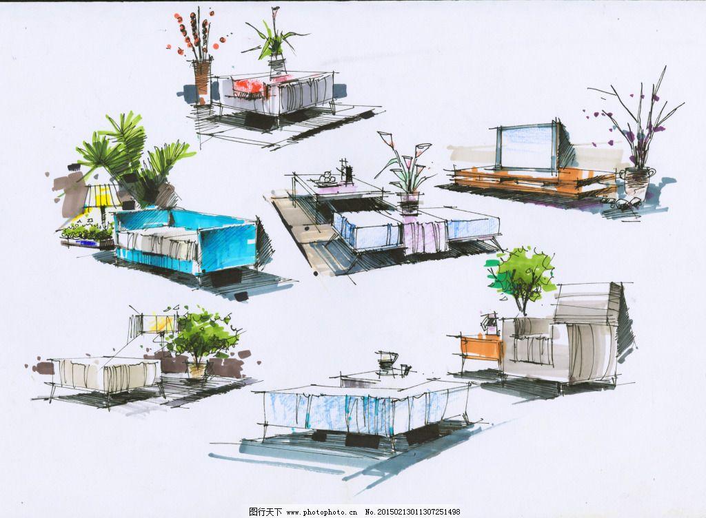 小品图色稿室内设计手绘图片素材免费下载 绘画书法 建模 建筑家居 模