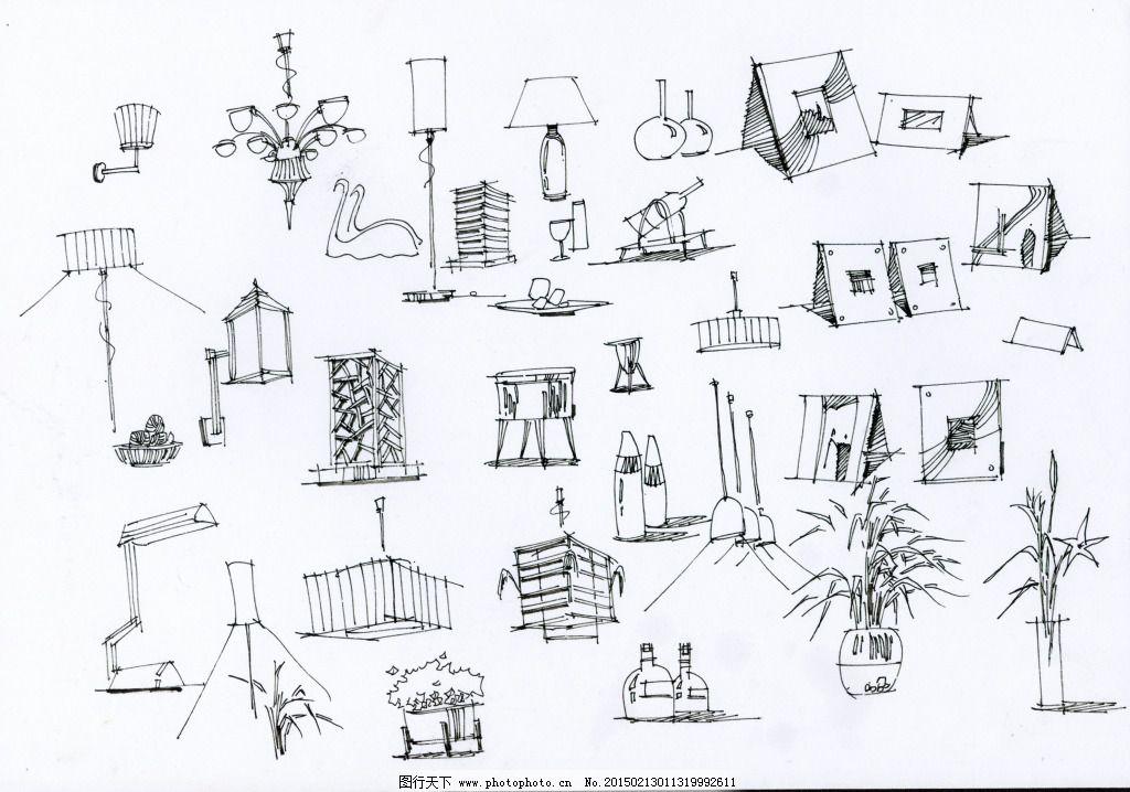 局部小品图线稿设计素材手绘图片素材免费下载 室内设计 手绘建筑