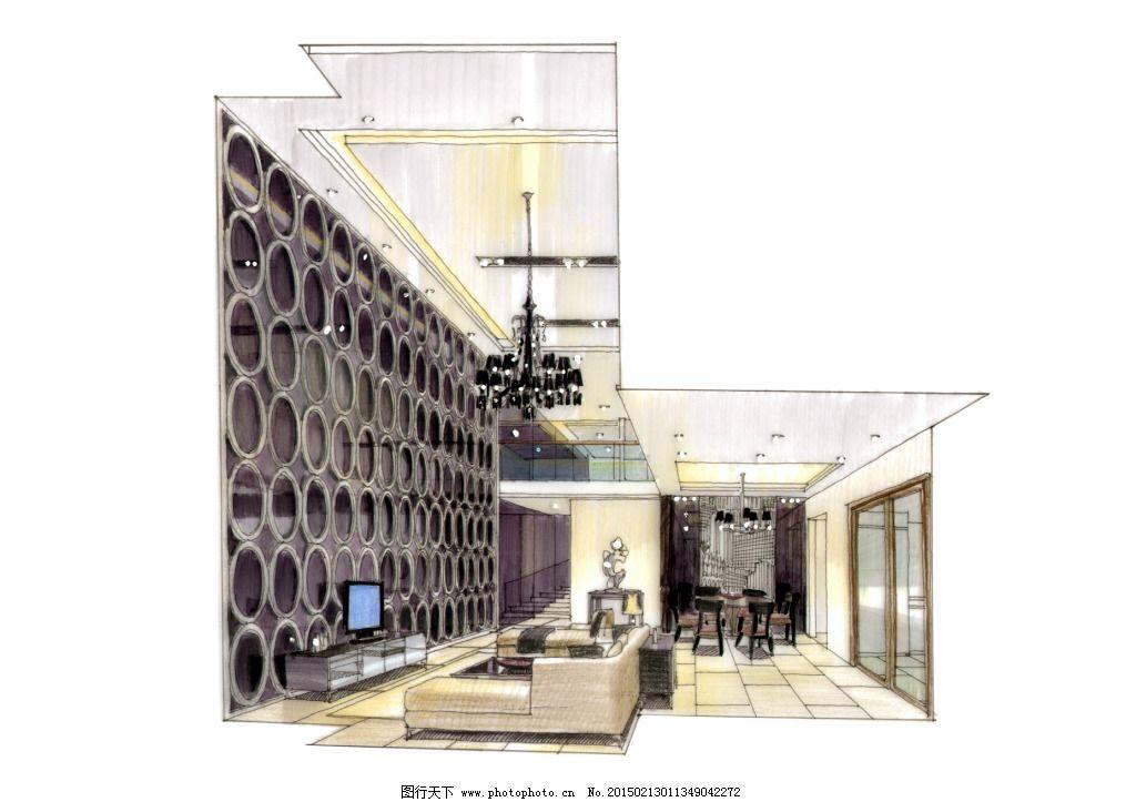 建模 建筑效果图 模型 室内建筑 手绘建筑 素描 透视图 线描 手绘建筑