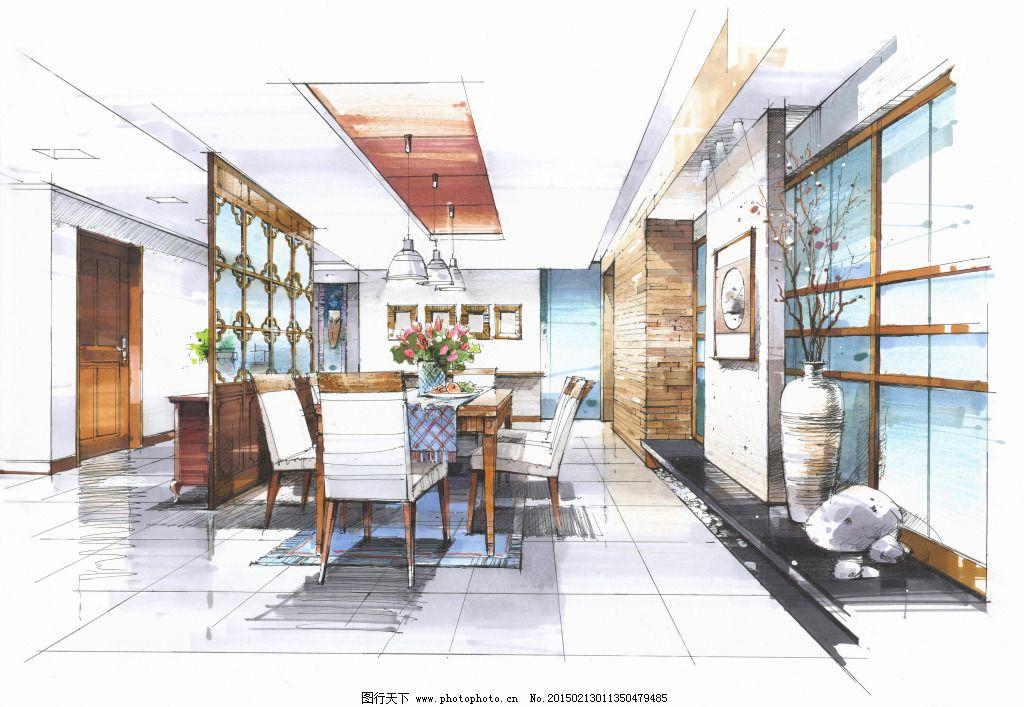 建筑效果图 模型 室内建筑 手绘建筑 素描 透视图 线描 手绘建筑 室内