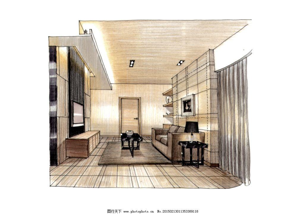 室内场景手绘图片素材