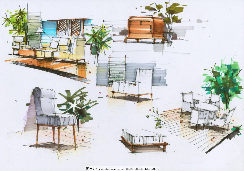 局部小品手绘图片素材_室内设计_装饰素材_图行天下