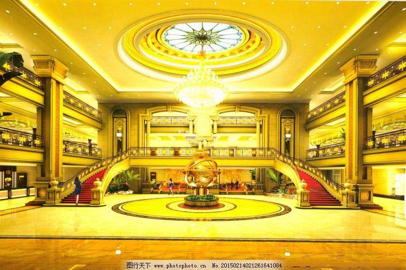 豪华大厅3d模型 室内设计 大厅模型 室内装饰模型