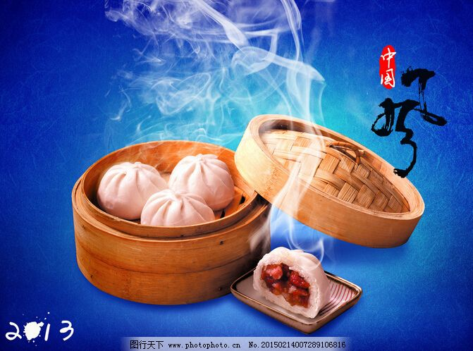中国风包子海报_宣传单彩页_海报设计_图行天下图库