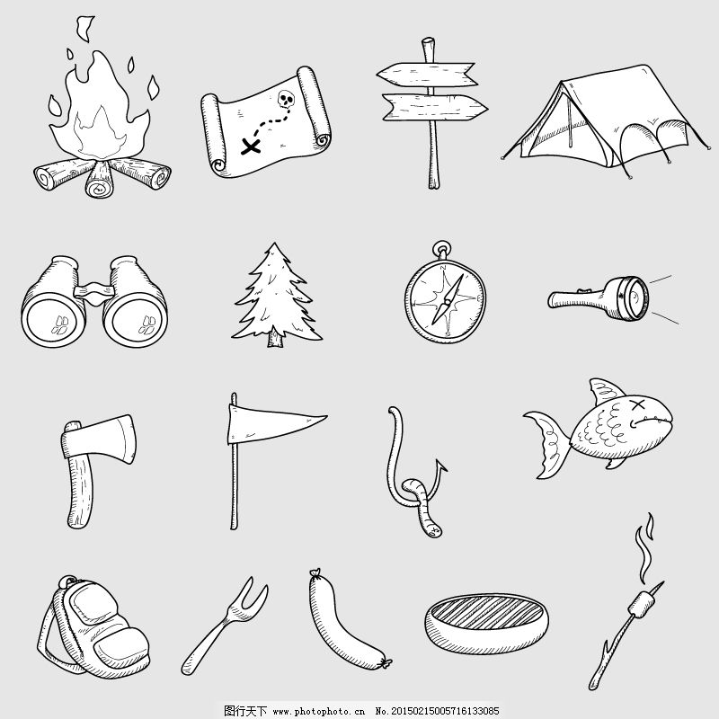 17款手绘野营图标矢量素材