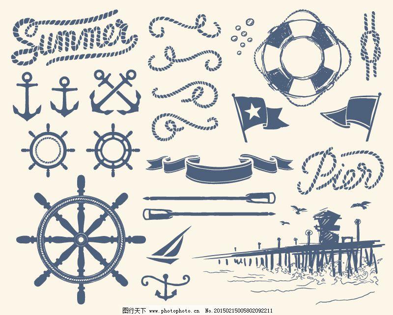 手绘航海元素设计矢量素材_现代科技_矢量图_图行天下