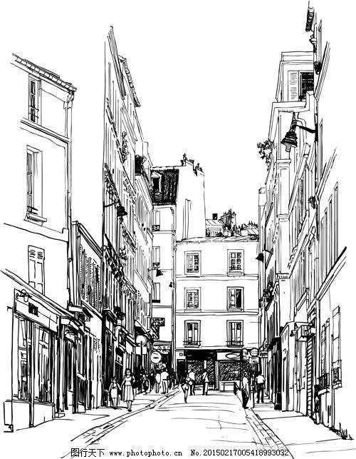 街道素描场景图免费下载 房子元素 线描街道图 房子元素 黑白素描图