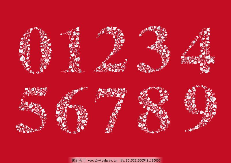 创意树叶枝条数字