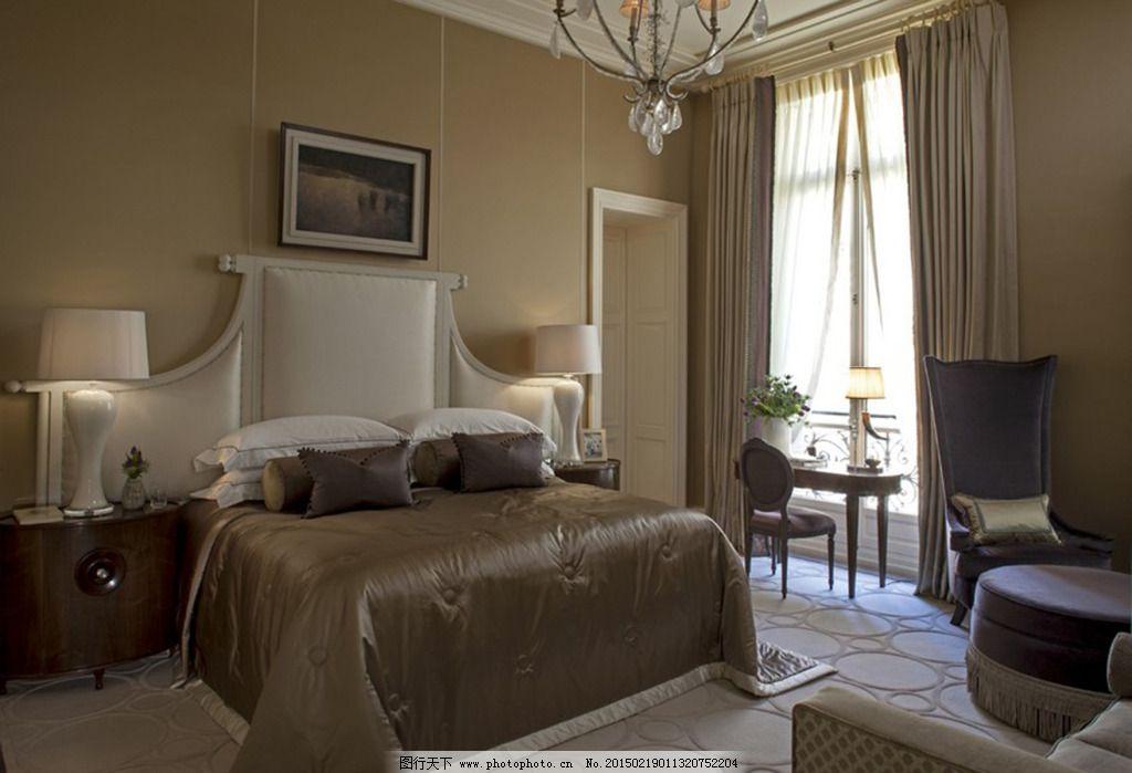 卧室装修图免费下载 壁画 壁纸 窗户 床 床头 床头柜 吊灯 木地板