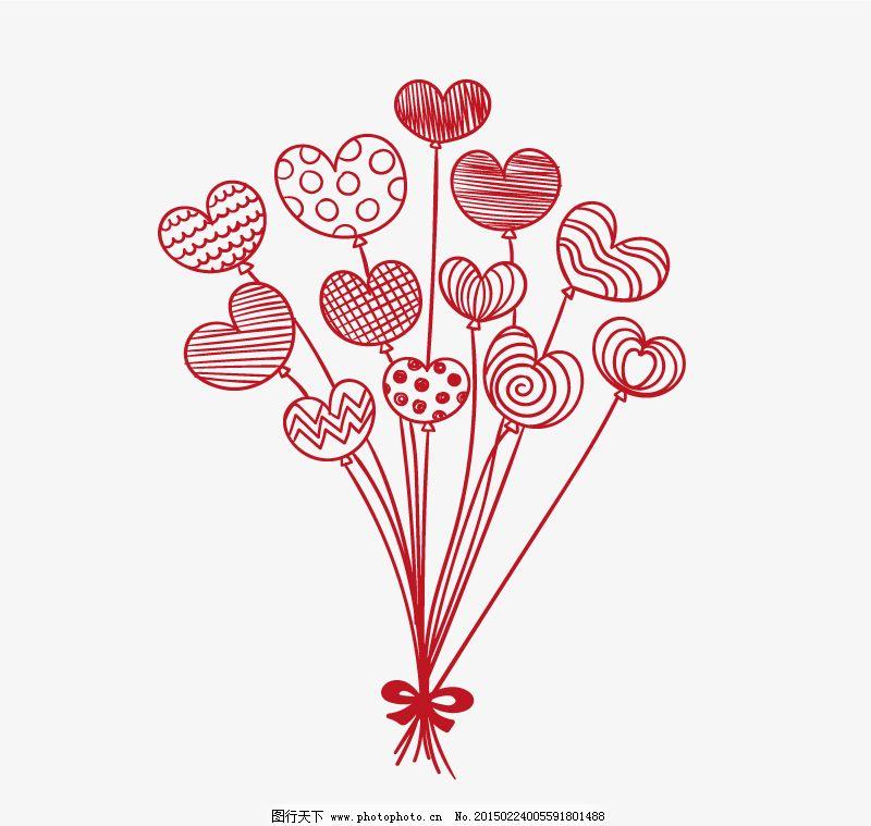 手绘红色心形气球束矢量素材.
