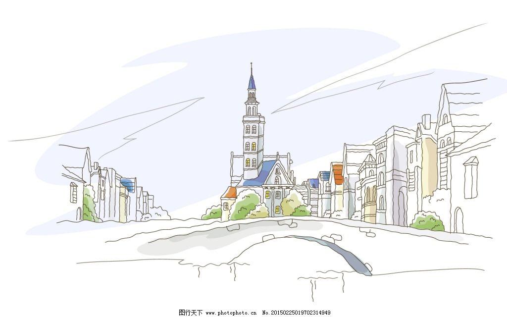 都市场景免费下载 都市 设计 手绘 设计 都市 手绘 图片素材 插画集