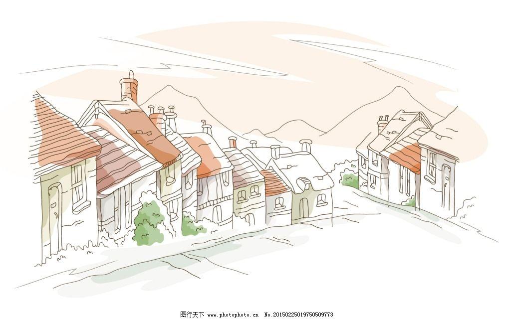 插画 房屋 手绘 房屋 手绘