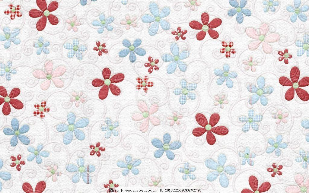 欧式田园风卧室蓝色花朵墙布