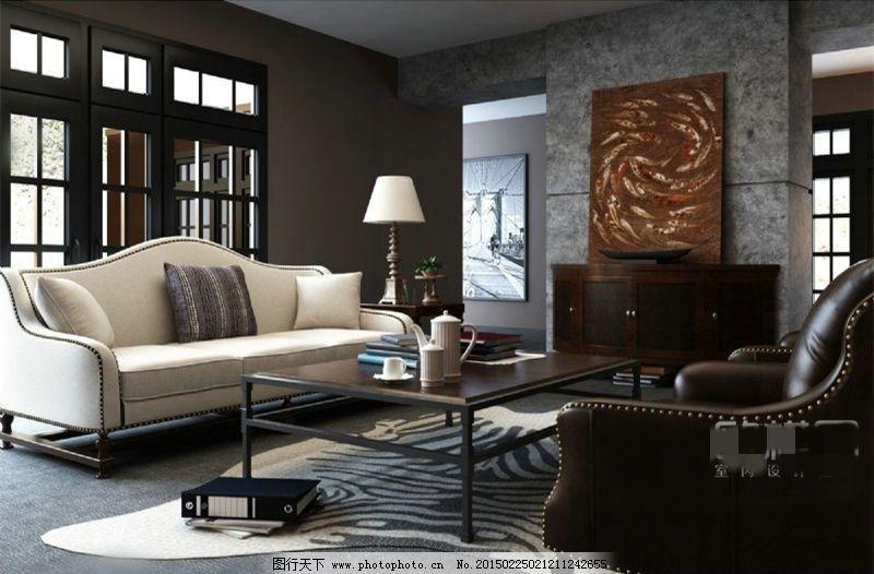 美式客厅沙发茶几边柜组合3d模型素材 室内模型 室内设计 室内装饰图片