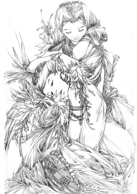 线稿古典女孩古风人物白描简笔画