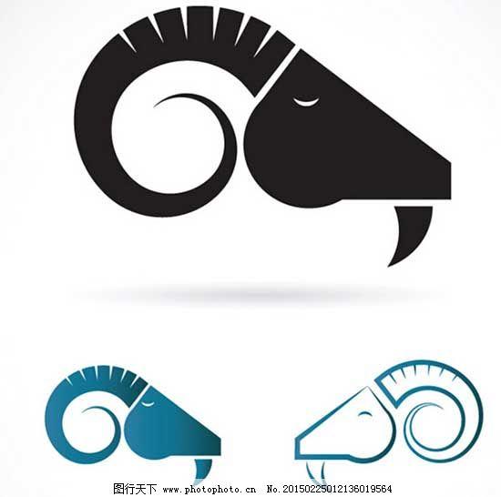 羊年图案矢量图片免费下载 黑色 蓝色 图案 羊年 羊头 羊年 图案 羊头