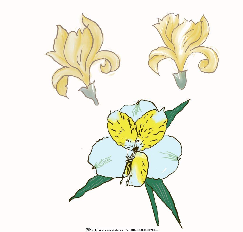 兰花 植物 手绘 剑兰 花卉 底纹边框 花边花纹