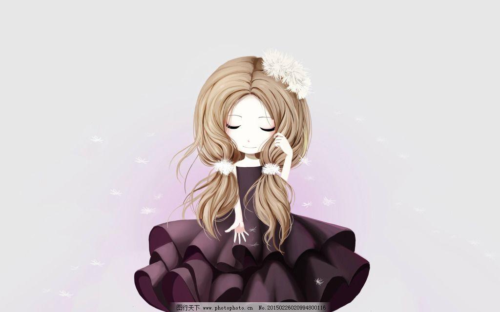 洋装长发少女免费下载 动漫 可爱 少女 动漫 少女 可爱 图片素材 背景