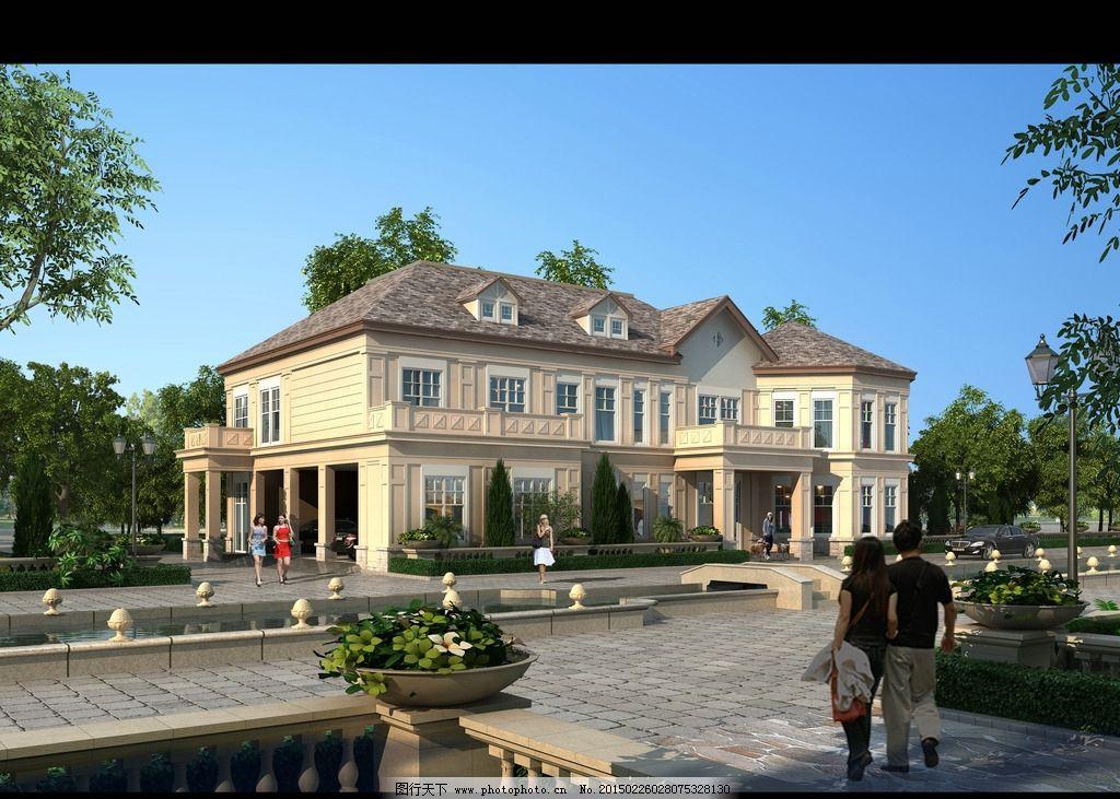 两层美式风格别墅效果图图片