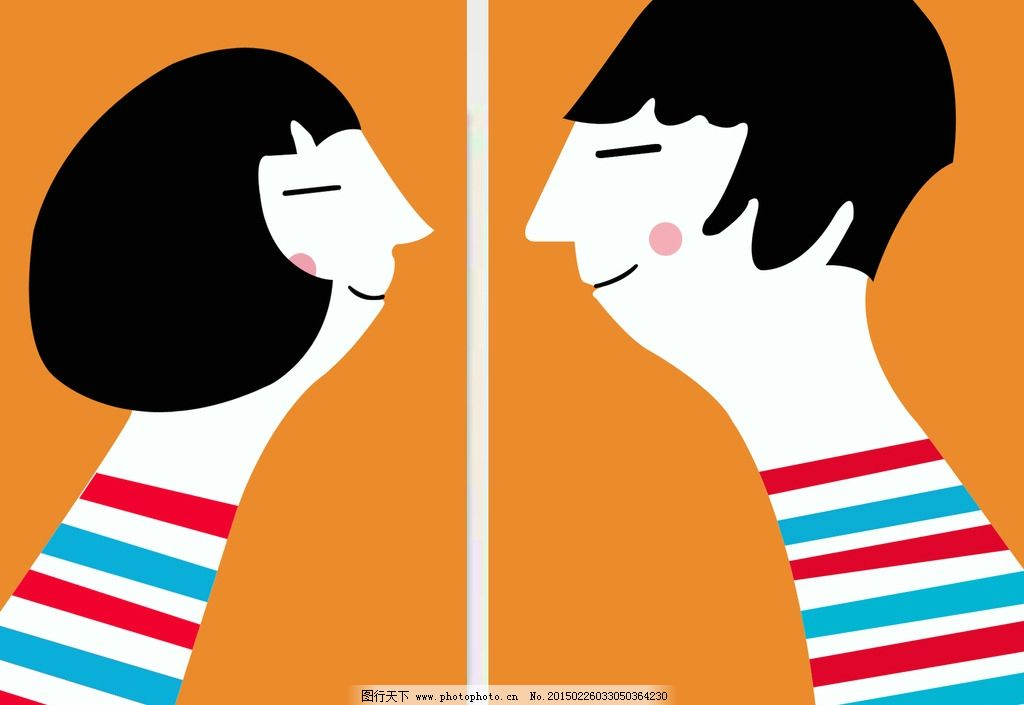人物画 装饰画 彩色剪纸画 情侣图片 男人女人 设计 psd分层素材 psd