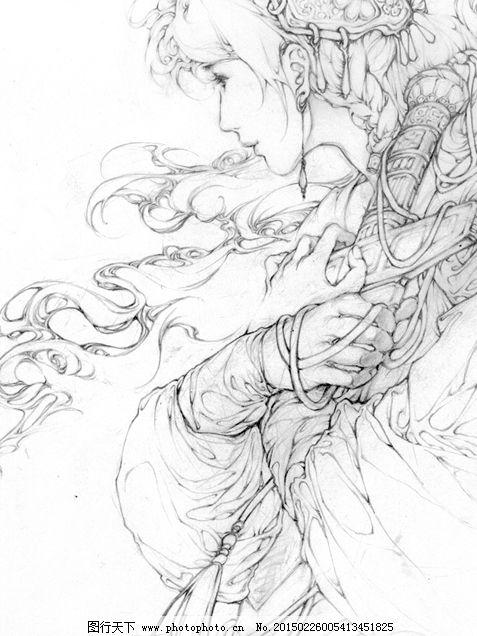 线稿插画人物 线稿插画人物免费下载 白描 古装人物 古风系列 黑白