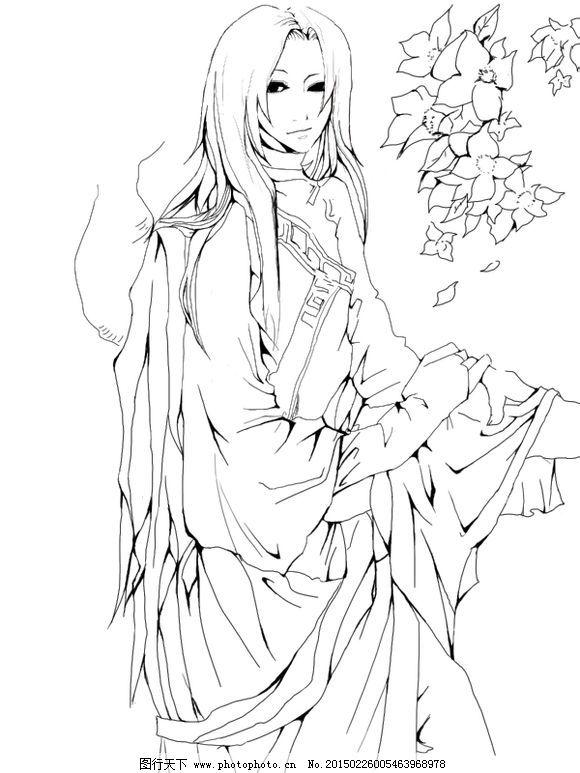 古典 古风 黑白 美女 手绘 线稿 古风 手绘 黑白 线稿 古典 美女 女侠