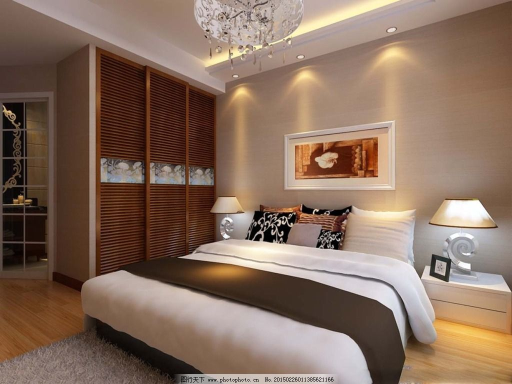 简约卧室 简约卧室免费下载 框画 装修 家居装饰素材 室内设计