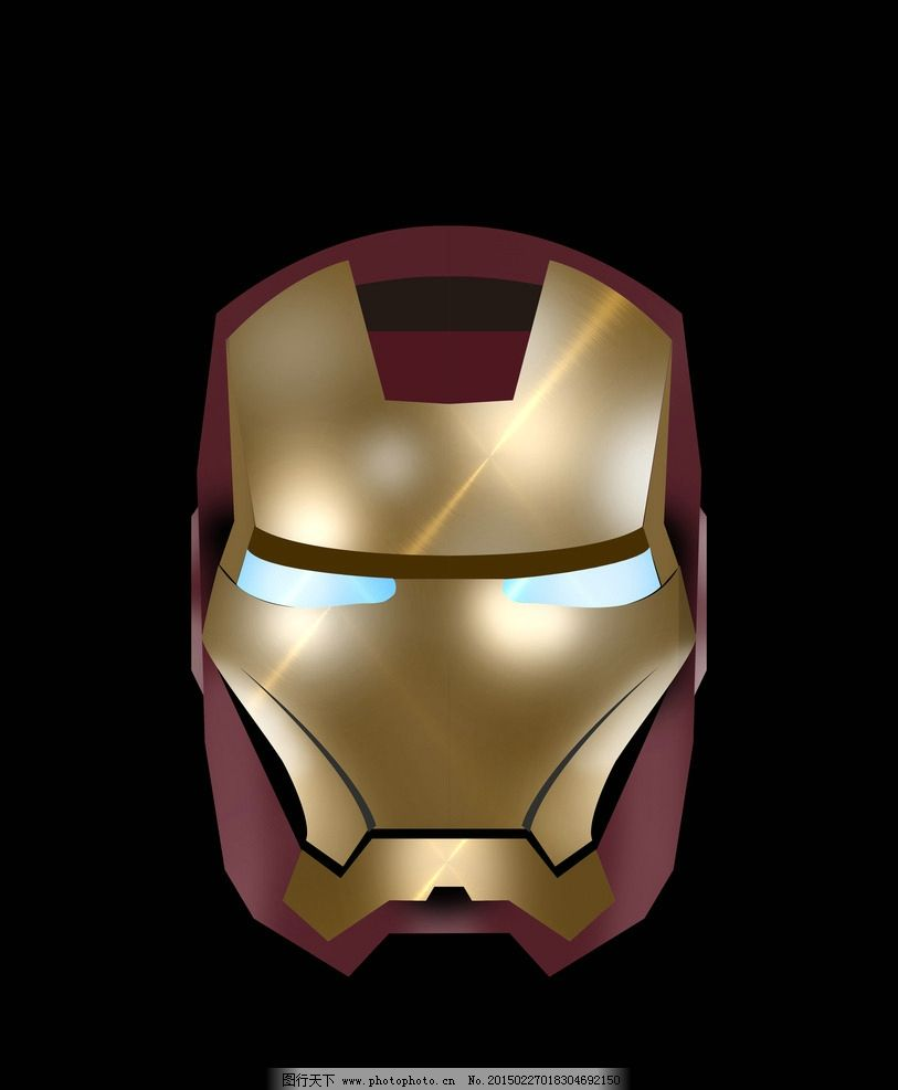 钢铁侠 面具 英雄 美国 手绘 psd 设计 动漫动画 动漫人物 300dpi psd