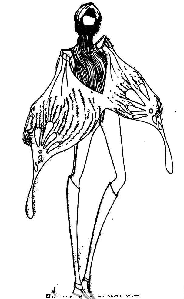 服装设计图铅笔手稿图解