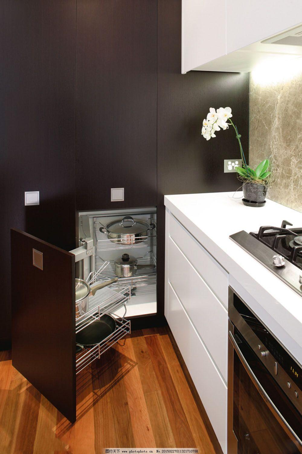 黑色柜子厨房_室内设计_装饰素材_图行天下图库